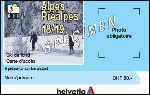 Carte d'accès ski de fond Alpes et Préalpes pour la saison 2018-2019