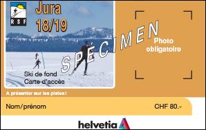 Carte d'accès ski de fond Jura pour la saison 2018-2019
