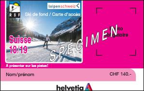 Carte d'accès ski de fond Suisse pour la saison 2018-2019